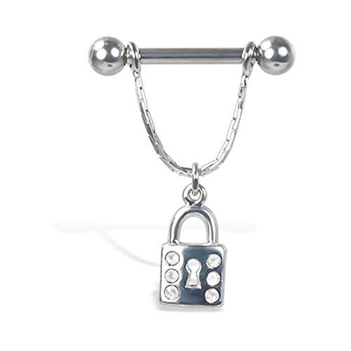 MsPiercing Nipple Ring With Jeweled Dangling Lock, 12, 14, Or 16 Ga, Gauge: 14 (1.6Mm), 5/8