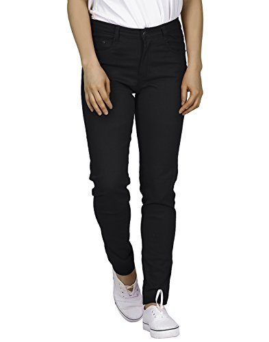 (HDE Women's Mid-Rise Stretchy Denim Slim Fit Skinny Jeans (Black, Small))