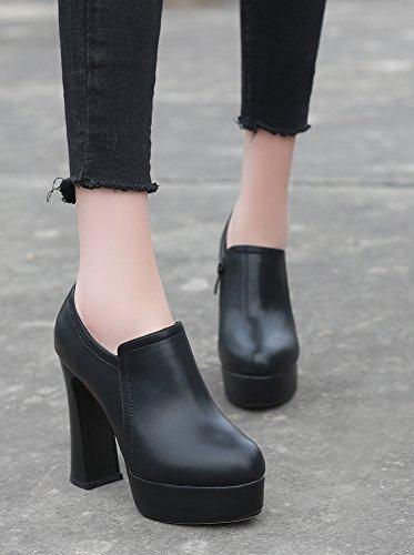Haut Femme Aisun Mode Plateforme Chunky Talon Escarpins Noir qtBdv