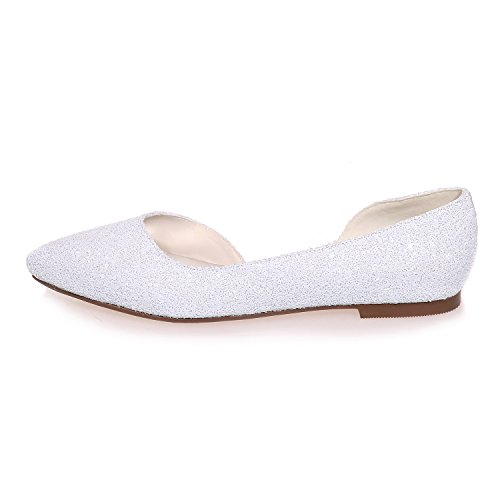 Glitter Zapatos Flat Ager White De Ladies Tamaño Pumps 2046 Novia 08A Womens Ballet Flower 0zIqI