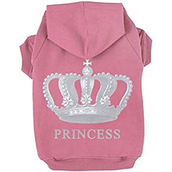 EXPAWLORER Princess Dog Cat Fleece Sweatshirt Hoodies Pink L