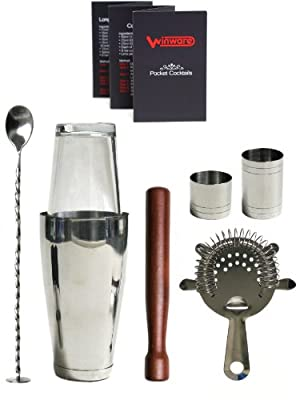 WIN-WARE Boston Cocktail Shaker Gift Set - Includes Hawthorn Strainer, Muddler, Bar Spoon with masher, 25ml and 50ml Jiggers and a WIN-WARE pocket size cocktail making guide. All enclosed in a WIN-WARE gift box