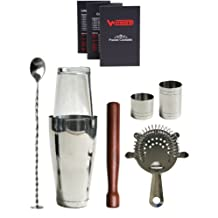WIN-WARE Boston Cocktail Shaker Gift Set – Includes Hawthorn Strainer, Muddler, Bar Spoon with masher, 25ml and 50ml Jiggers and a WIN-WARE pocket size cocktail making guide. All enclosed in a WIN-WARE gift box