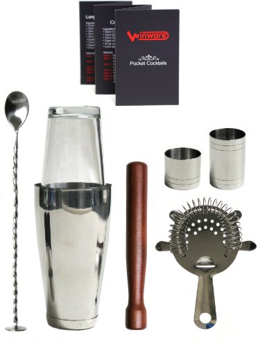 Winware Boston Cocktail Shaker Gift Set and Pocket Cocktail Guide with Winware...