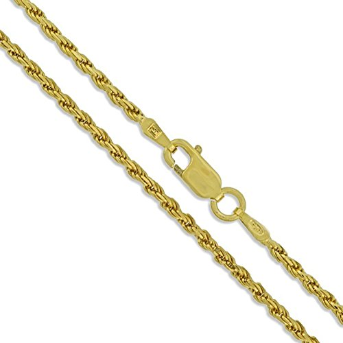 Sterling Silver 22k Gold Plated Diamond-Cut Rope Chain 2mm New Necklace 925 14
