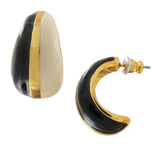 (Color Block Black Gold Tone Cream Small Half Hoop Vintage Pierced Earrings 7/8