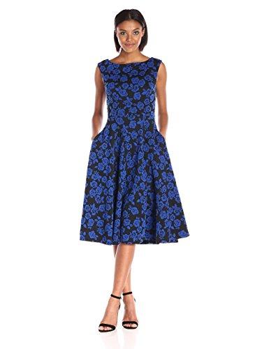 Betsey Johnson Women's Rose Knit Jacquard Dress, Black/Royal Blue 10