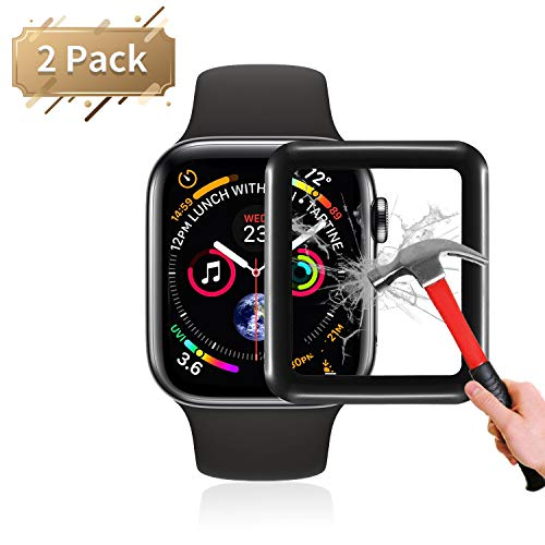 fohuas Compatible Apple Watch Tempered Glass Screen Protector 44mm Series 5 4 [2 Pack], Anti-Scratch & Impact Resistant Air Babble-Free HD Clear Tempered Glass Film for iWatch.