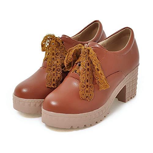Légeres à GMBDB013248 AgooLar Chaussures Cuir Lacet Unie Femme PU Couleur Brun Correct Talon vqPwfZqE