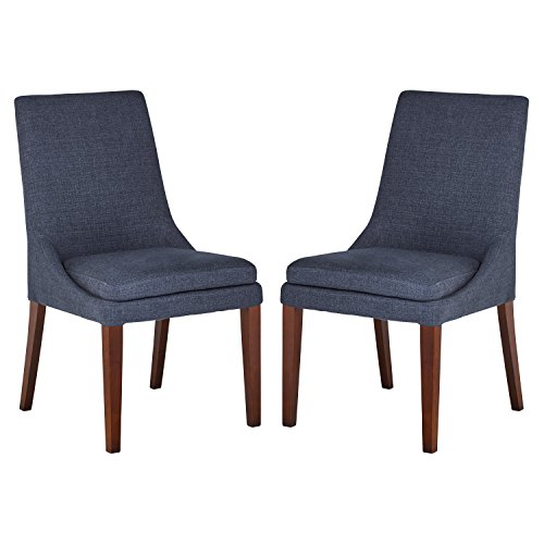 Stone Beam Alaina Upholstered Dining Chair, 37 H, Pack of 2, Blue