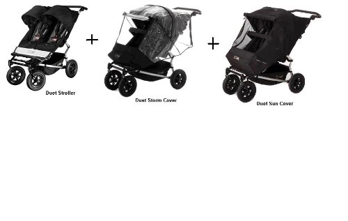 Mountain Buggy Duet Double Stroller WITH Rain Cover and Sun Cover by Mountain Buggy