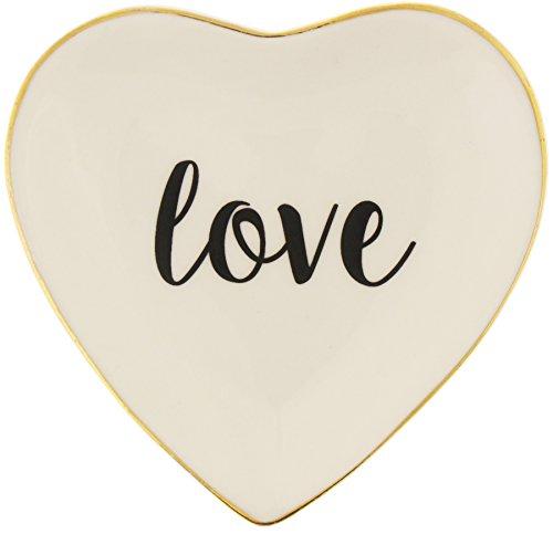 Capelli New York Ceramic Heart Trinket Tray - Love Gold Combo One Size Capelli Heart