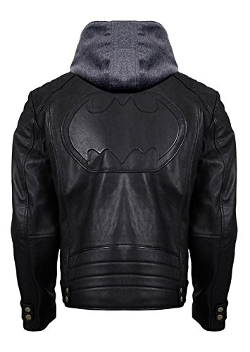 Batman Brando Logo with Hoodie Justice Classic League Hi-Quality Gotham Outlaw Geniune & Synthetic Leather Jacket