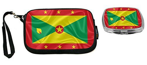 Rikki Knight Grenada Flag Design Neoprene Clutch Wristlet with Matching Square Compact Mirror