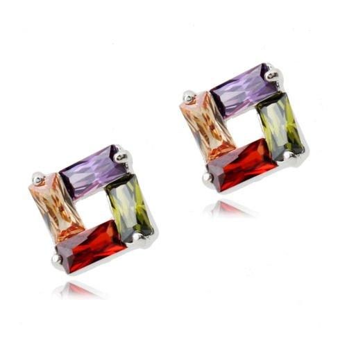 Colorato Cristalli austriaci di zirconi Rombo Purare Collana con ciondolo 45 cm Orecchini 18 kt placcato oro bianco per donne