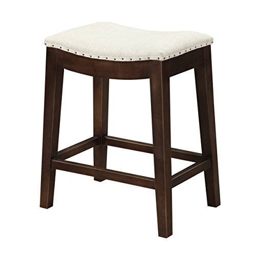Emerald Home Rancho Cream and Brown 27″ Bar Stool with Upholstered Seat And Nailhead Trim For Sale