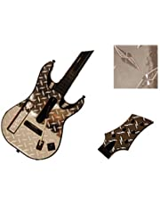 Silver Diamond Plate Mirror Vinyl Decal Faceplate Mod Skin Kit for Nintendo Wii Guitar Hero 5 (GH5) World Tour by System Skins