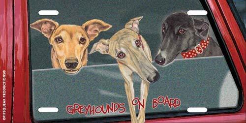 (Animal Pet Gifts, Greyhound Trio License Plate)