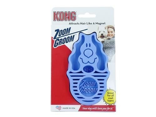 Kong - Zoom Groom Dog Brush, groom and massage while removing loose hair and dead skin - Blue 10 packs
