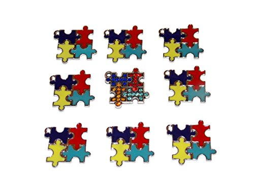 9 Pack of Autism Awareness Puzzle Charm Pendants – Old School Geekery TM Brand Jewelry Making Supplies