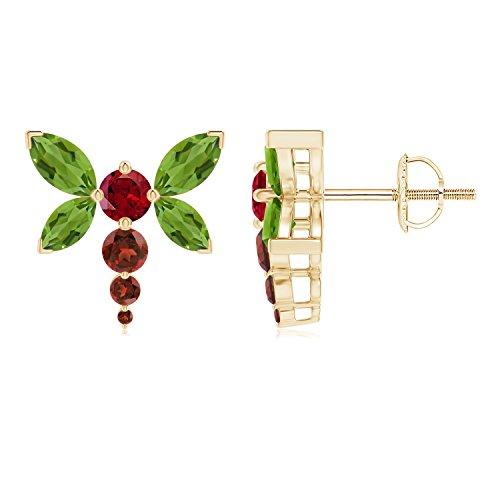 Garnet Dragonfly Ring - Peridot and Garnet Dragonfly Stud Earrings in 14K Yellow Gold (6x3mm Peridot)