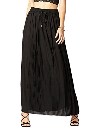 Premium Pleated High Waist Wide Leg Palazzo Pants for Women with Drawstring (One Size, Skirt Black)