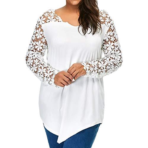 kaifongfu Women's Tops,Long Sleeve Solid Plus Size Lace Casual Blouse Loose T-Shirt (Lace -White, XXXL)