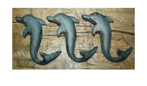 3 Cast Iron Antique Style DOLPHIN Coat Hooks Hat Hook Rack Towel Nautical Beach