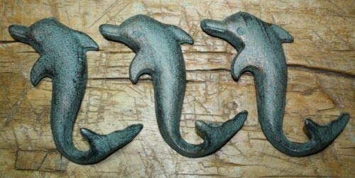 JumpingLight 6 Cast Iron Antique Style Dolphin Coat Hooks Hook Rack Towel Nautical Beach Cast Iron Decor for Vintage Industrial Home Accessory Decorative Gift