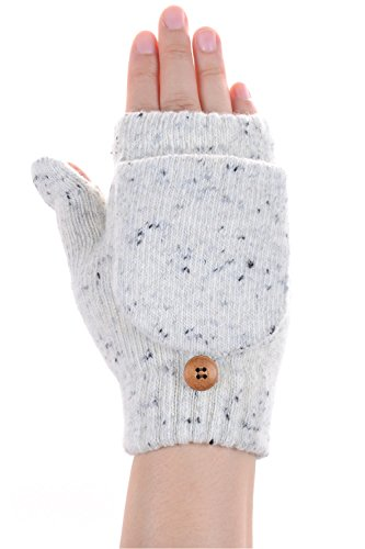 Fold Gloves Fleece Over (BYOS Winter Plush Fleece Lined Speckled Convertible Fingerless Knit Mitten Flip Over Cover Gloves (Snow White Wooden Button))