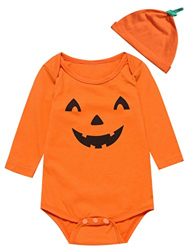 Little Fancy Baby Boys' Halloween Pumpkin Costume Bodysuit with Hat (0-3 Months) Orange