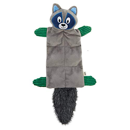 - ED Ellen DeGeneres Grey Raccoon Plush Squeaker Mat Dog Toy