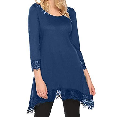 Couleur Tunique Unie Patchwork Manches Col Shirt T Femme Rond Chemisier Longues Bringbring Tops Bleu Blouse Dentelle pxw7SqX1