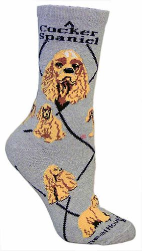 Cocker Spaniel Animal Socks,Gray,9-11 sock size fits ladies 6-10 shoe size