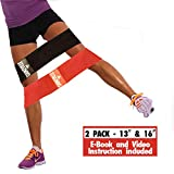 Hip Resistance Circle – Hip Band 2-Pack | Warmup, Workout & Exercise Loop for Women & Men| Dynamic Glute Activation to Build Perfect Butt, Booty, Thighs & Legs | Non Slip Fabric | 13″ & 16″ included