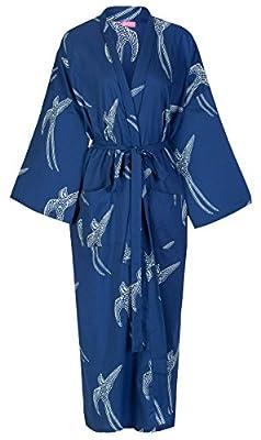 Susannah Cotton Kimono Robe Yukata Dressing Gown - Light Bathrobe for Women