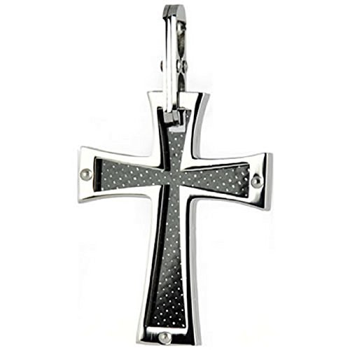 Stainless Steel & Carbon Fiber Cross Pendant Christian & Catholic Religious jewelry ()