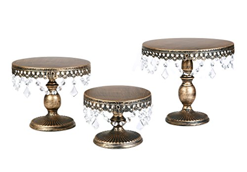 VILAVITA 3-Set Antique Round Cake Stands Cupcake Stand Dessert Display with Pendants and Beads, Antique Gold ()