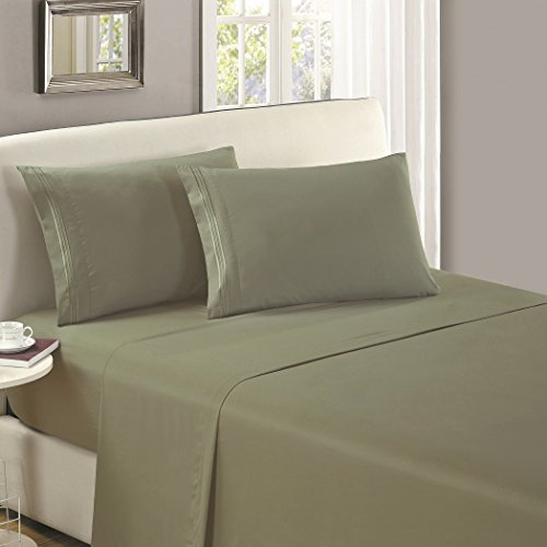 Mellanni Flat Sheet King Olive-Green Brushed Microfiber 1800 Bedding Top Sheet - Wrinkle, Fade, Stain Resistant - Hypoallergenic - (King, Olive Green) ()