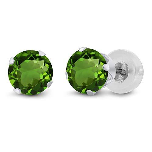 Tourmaline White Gold Stud - Gem Stone King 0.50 Ct Round 4mm Green Tourmaline 14K White Gold Stud Earrings