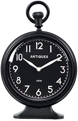 NIKKY HOME Table Top Clock, Vintage Metal Round Analog Desk Clock Battery Operated for Living Room Decor Shelf – Black