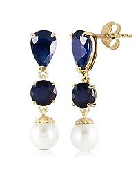 10.1 CTW 14K Solid Gold Chandelier Earrings Sapphire pearl