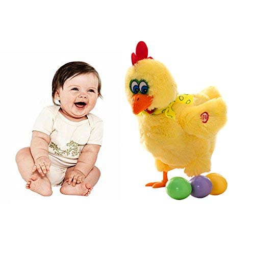 Peyan Laying Eggs Chicken with Sound Music and Dancing,Children's Funny Doll Raw Chicken Hen Eggs of Chickens Crazy Singing and Dancing Electric Plush Toys for Kids Baby (Yellow)