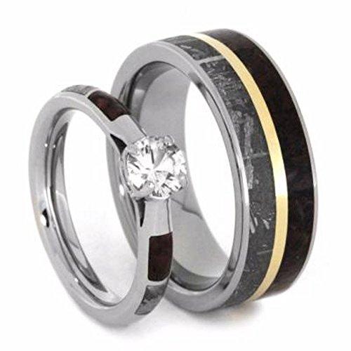 His and Hers Wedding Set, White Sapphire 10k White Gold Ring, Dinosaur Bone and Gibeon Meteorite Titanium Wedding Bands, M16-F6 by The Men's Jewelry Store (Unisex Jewelry)