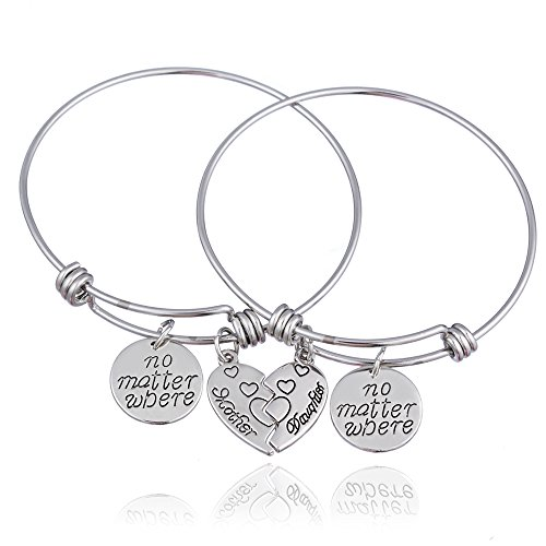 2pcs Mother Daughter Bangles Set No Matter Where Compass Split Broken Heart Expandable Bracelets Gift (Expandable Bangle)