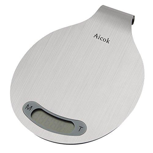 Aicok Digitale Küchenwaage edelstahl,Digitalwaage Professionelle Küche Electronische Waage haushaltswaage Präzisionswaage auf bis zu 1g (5kg Maximalgewicht),Tara-Funktion mit LCD Anzeige