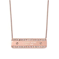 Rose Gold Tone Crystal Logo Plaque Necklace