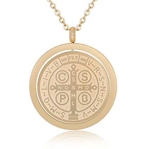 San Benito - Saint Benedict Exorcism Medal Catholic Cross Protection Gold Plated Solid Stainless Steel Pendant Necklace - Religious Jewelry Yellow Gold - Protection Cross