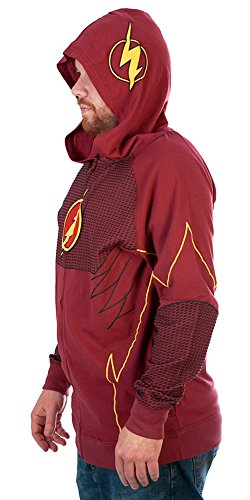 Dc Comic Costumes (DC Comics The Flash Mens Cosplay Costume Hoodie (X-Large))