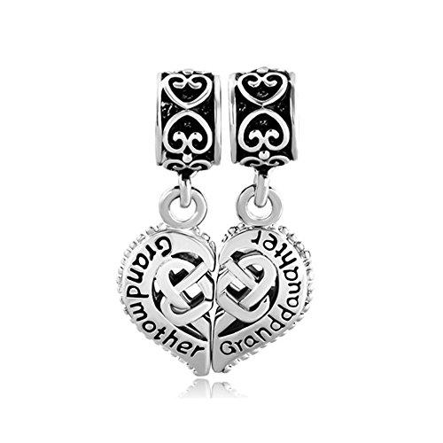 (Q&Locket 2PCS Grandmother Granddaughter Celtic Knot Heart Charms For Bracelet)